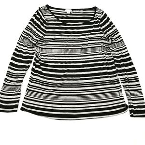 Old Navy Long Sleeved Top Black And Grey Stripes Size XL